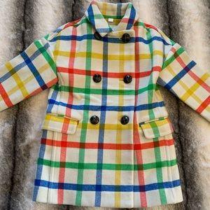 { Burberry } Kids Wool Checkered Pea Coat